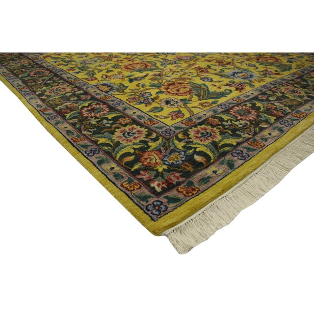 """Vintage Traditional Style Yellow Area Rug - 7'10"""" x 9'9"""" - Image 2 of 5"""
