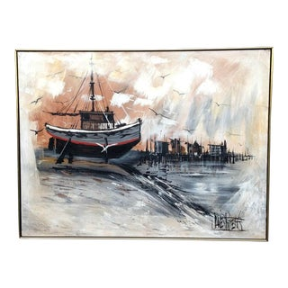 Mid Century Modern Harbor Scene Abstract Oil Painting by James Roberts