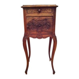 French Shabby Bedside or End Table With Rose Motif