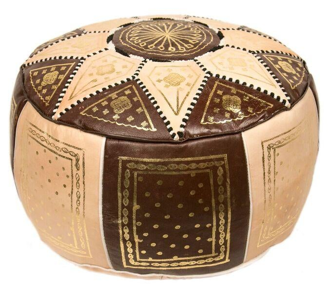Brown Marrakech Leather Pouf Stuffed Chairish