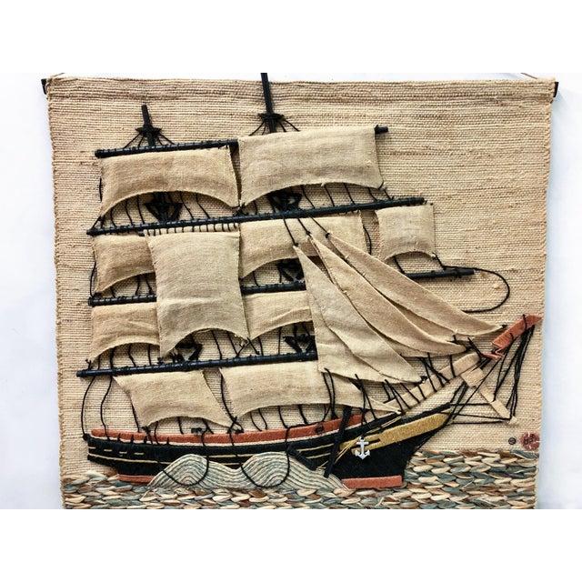 Don Freedman Macrame Wall Hanging of a Sailing Ship - Image 2 of 4