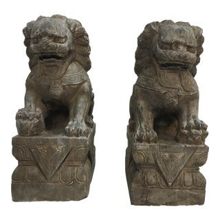 Carved Stone Guardian Dogs - A Pair