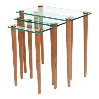 American Modern Set of Walnut, Brass and Glass Nesting Tables, Gilbert Rohde