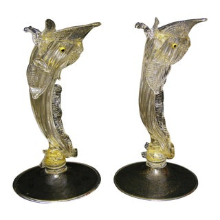 Venetian Murano Glass Dolphin Vessels - A Pair