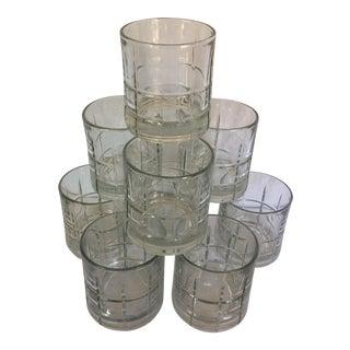 Vintage Crystal Plaid Pattern Lo-ball Glasses - Set of 9