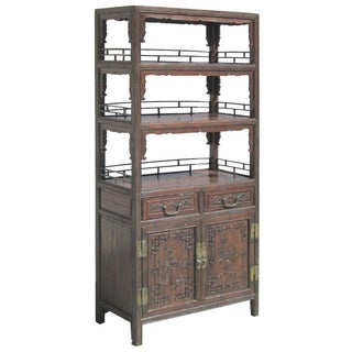 Chinese Bamboo Wood Bookcase/Display Cabinet