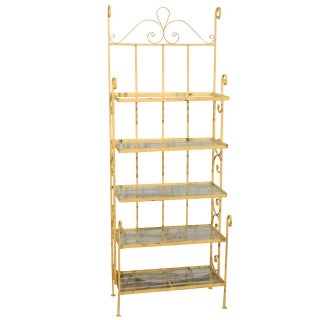Mid-Century Yellow Iron Baker's Rack