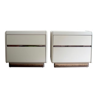 Glossy Gray Mirrored Lane Nightstands - A Pair
