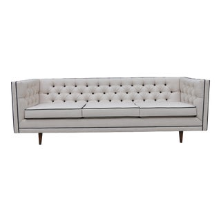 Mid Century Modern Tufted Sofa W/ Leather Accent