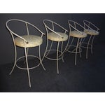 Image of Vintage Mid-Century Modern White Wrought Iron Bar Stools- Set of 4