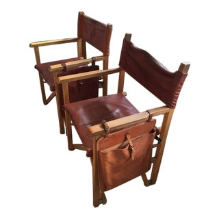 Custom Campaign Style Ash & Leather Chairs - Pair