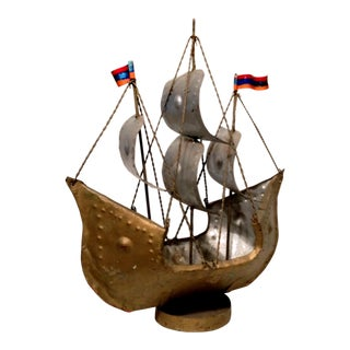 Vintage Spanish Handmade Metal Galleon Ship