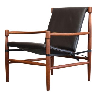 1960s Scandinavian Teak and Leather Safari Chair