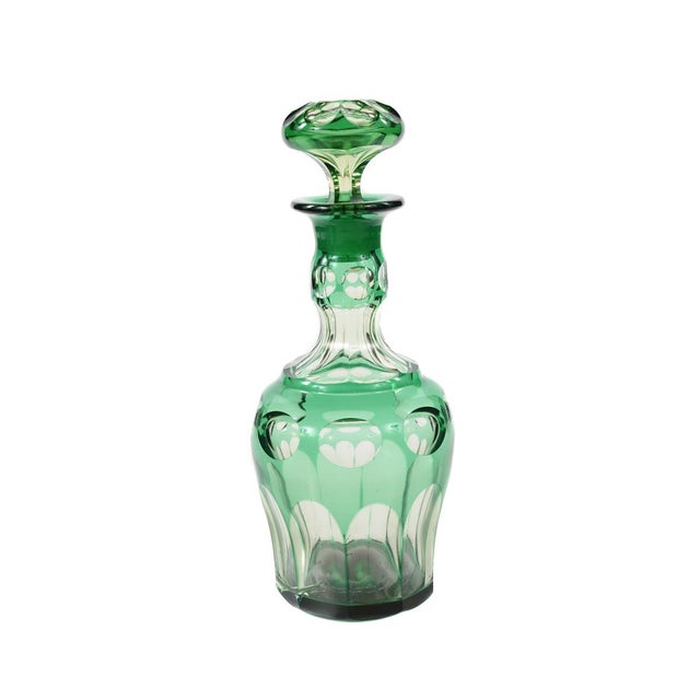 Image of Bohemian Green Glass Decanters - A Pair