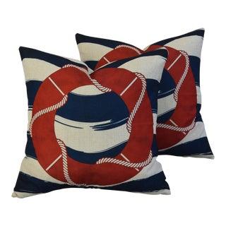 Nautical Beach Life Preserve Linen Feather/Down Pillows - Pair