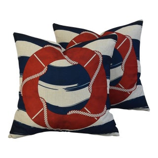 Nautical Beach Life Preserve Linen Feather/Down Pillows - Pair