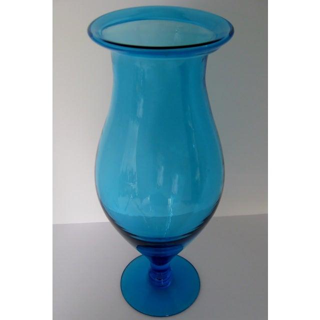Blenko Turquoise Goblet Vase - Image 5 of 5