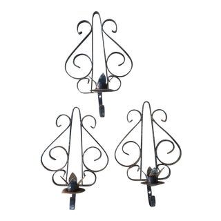 Wrought Iron Candle Sconces - Set of 3