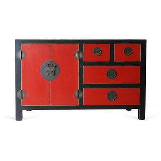 Lacquered Chinoiserie Red and Black Wood Credenza