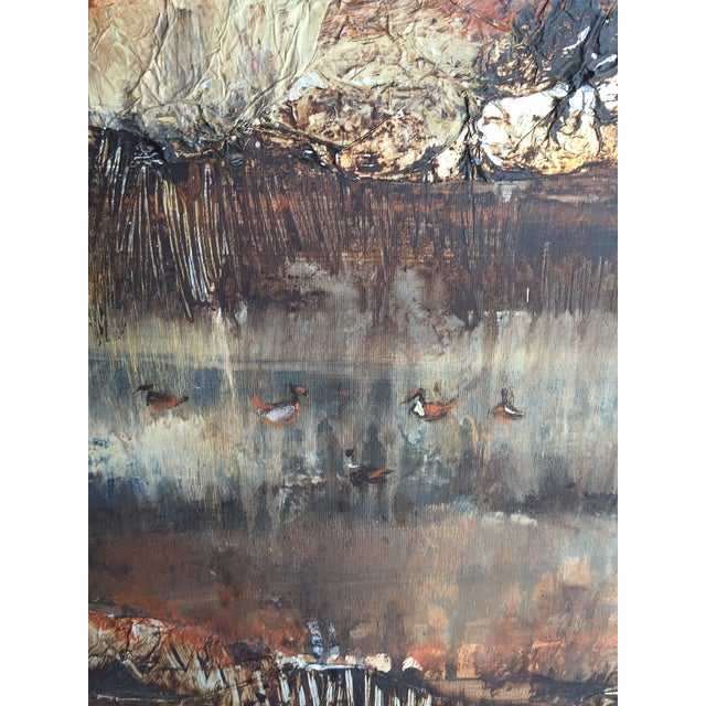 Large Vintage Abstract Woodland Canvas Art - Image 6 of 7