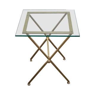 Italian Brass & Glass X-Base Side Table