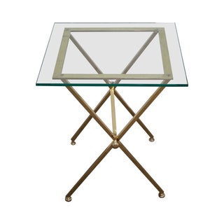 Italian Brass & Glass X-Base Side Table