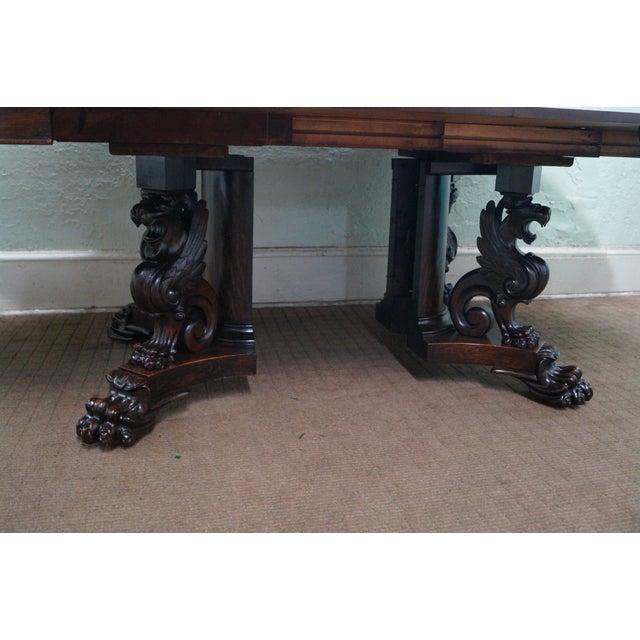 Image of RJ Horner Antique Round Oak Griffin Dining Table