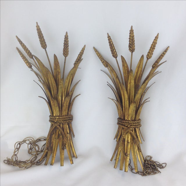 Hollywood Regency Gold Wheat Sconces - Pair - Image 2 of 7