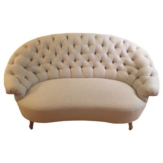 Cream Tufted Settee From Anthropologie