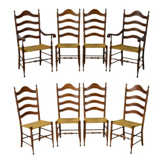 Quality Set of 8 Solid Maple Traditional Rush Seat Ladder Back Dining Chairs