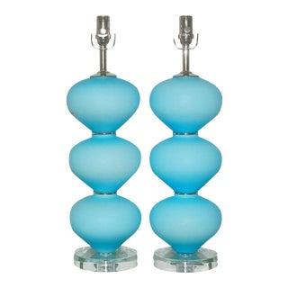 Blue Satinato Vintage Murano Lamps