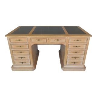 Hekman Raised Panel Tooled Leather Top Desk