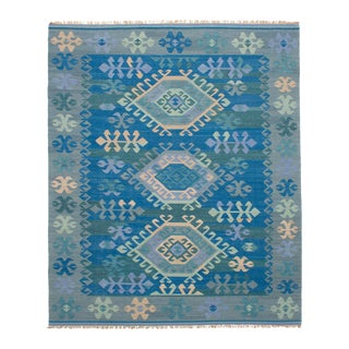 Vintage Turkish Blue and Beige Boho Chic Kilim Rug - 8′ × 10′