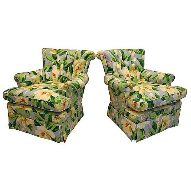 Vintage 1940s Magnolia Print Armchairs - A Pair - Image 2 of 5