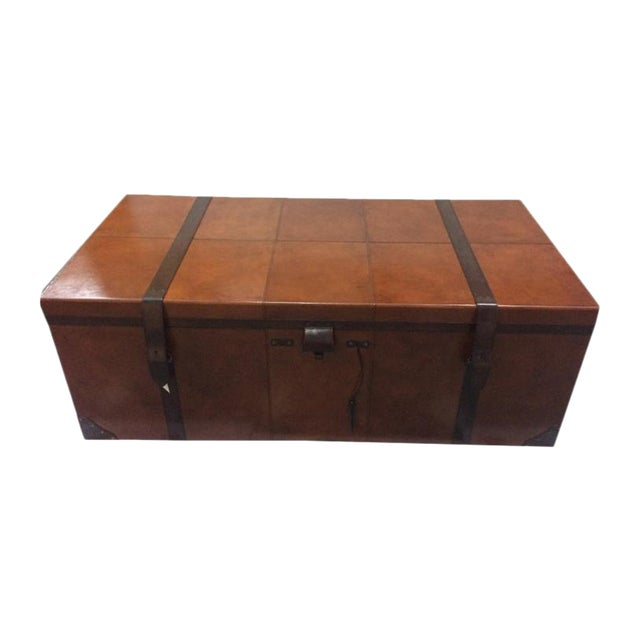 Rectangular Leather Manchester Storage Trunk Chest - Image 1 of 8