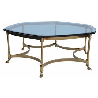 LaBarge Hexagonal Brass & Glass Coffee Table
