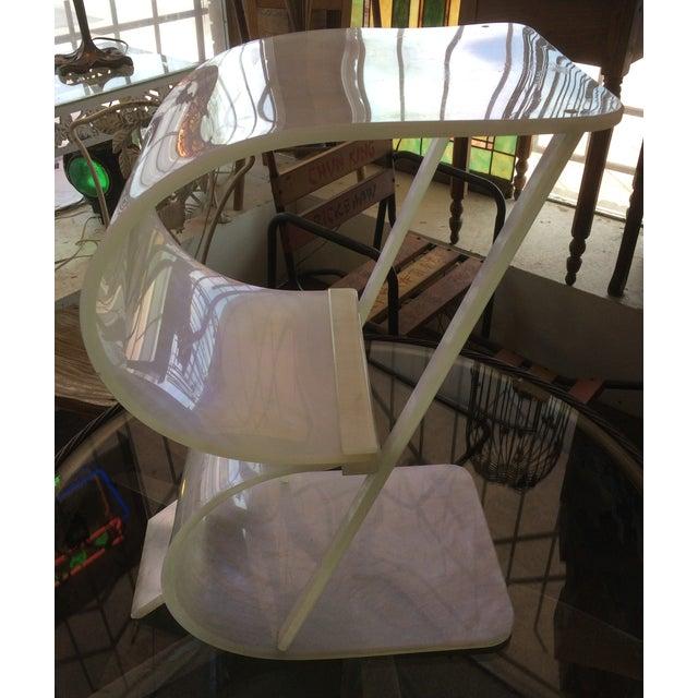 Art Deco Pearlized White Lucite 2 Tier Shelf - Image 4 of 8