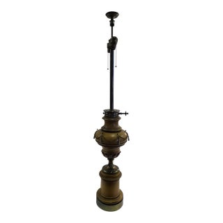 1940s Tall Hollywood Regency Faux Oil Table Lamp.