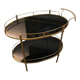 Mid-Century Modern Black Glass & Brass Bar Cart