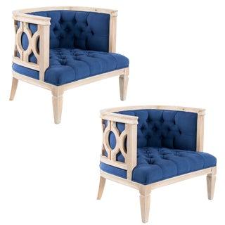 Lily Blue Linen Accent Club Chair - A Pair