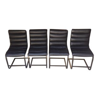Restoration Hardware Oviedo Black Leather Side Chairs - Set of 4