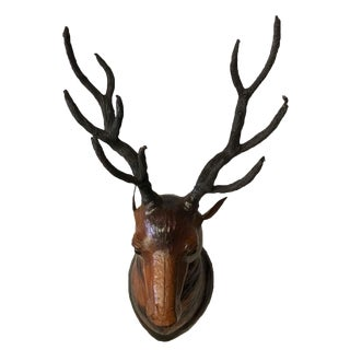 Large Deer Head Leather Covered Paper Mache Wall Mount