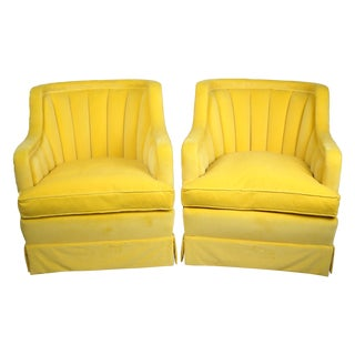 1960s Yellow Velvet Channel Back Chairs - A Pair
