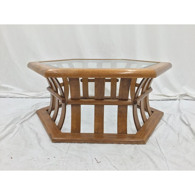 Retro Mid Century Wood & Glass Top Coffee Table