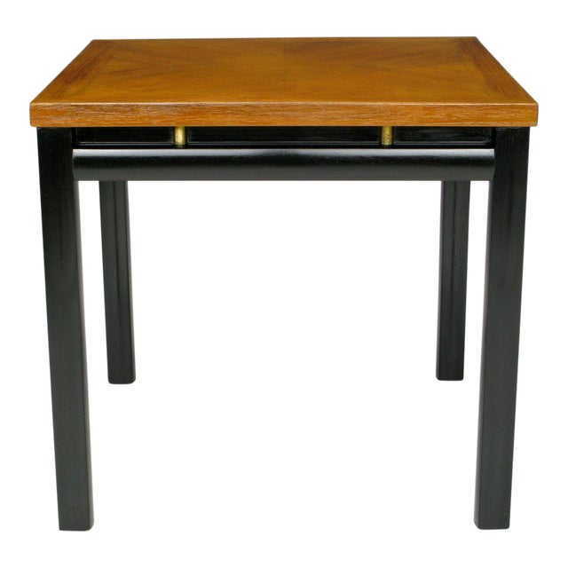 Pair Michael Taylor Bleached Mahogany & Black Lacquer End Tables - Image 1 of 6
