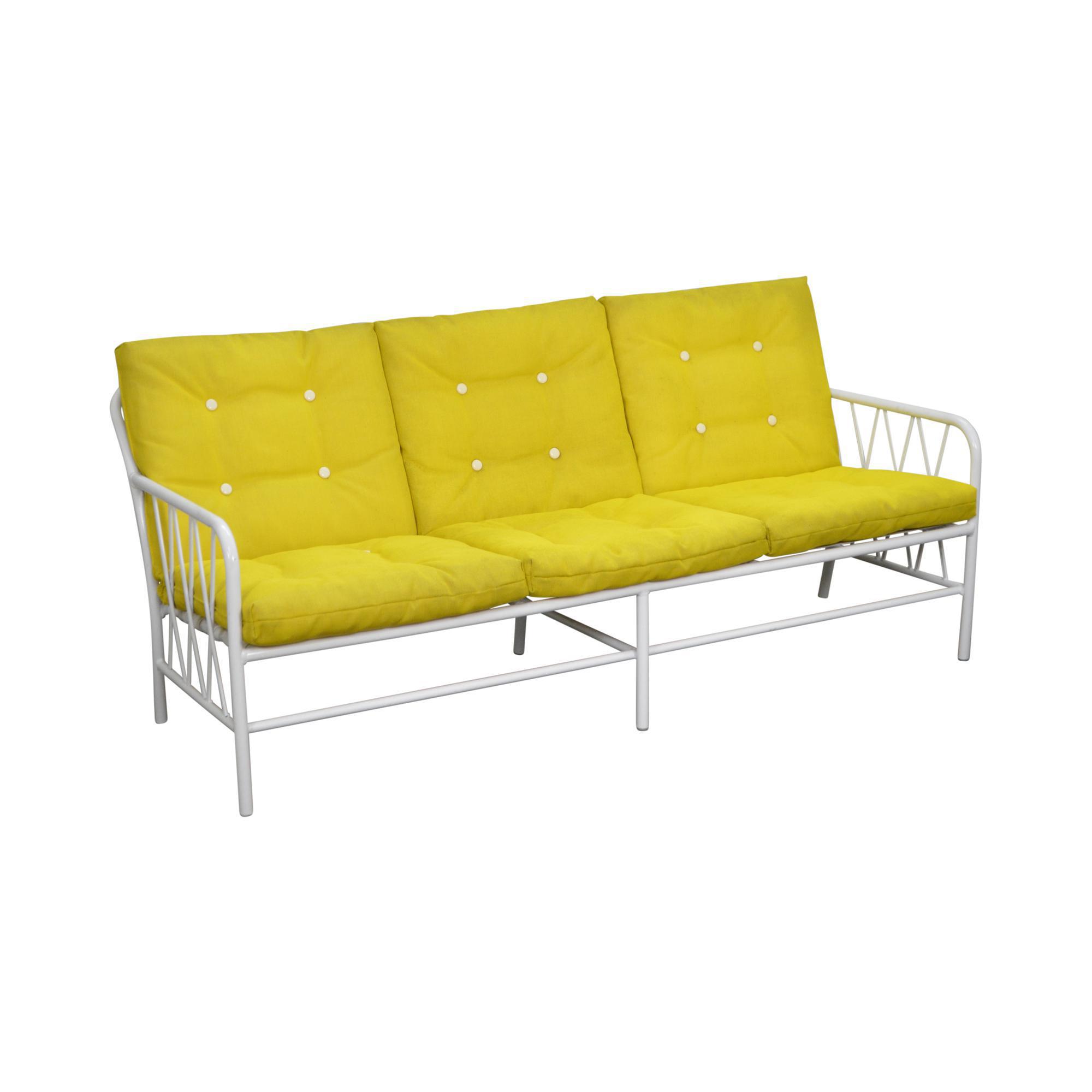 Mid Century Modern Brown Jordan Style White Patio Sofa W/ Yellow Cushions
