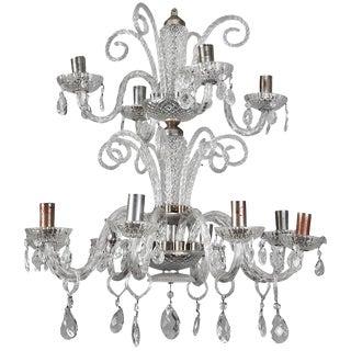 Italian Twelve Light Handblown Murano Glass 2 Tier Chandelier