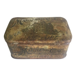 "Vintage Early 1900's ""Maryland Club Mixture American Tobacco Co."" Tin Box"