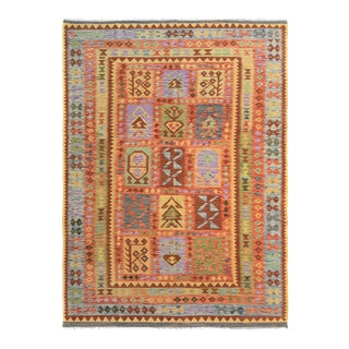 "Kilim Arya Hoyt Red & Blue Wool Rug - 6'6"" x 9'7"""
