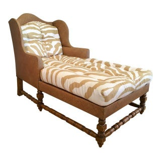 Wingback Chaise Lounge in Scalamandre Zebra Fabric
